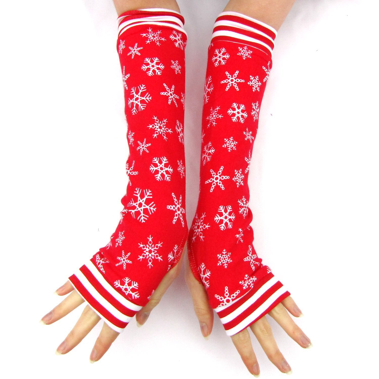 Winter Dreams arm warmers gloves Red Christmas Snowflakes