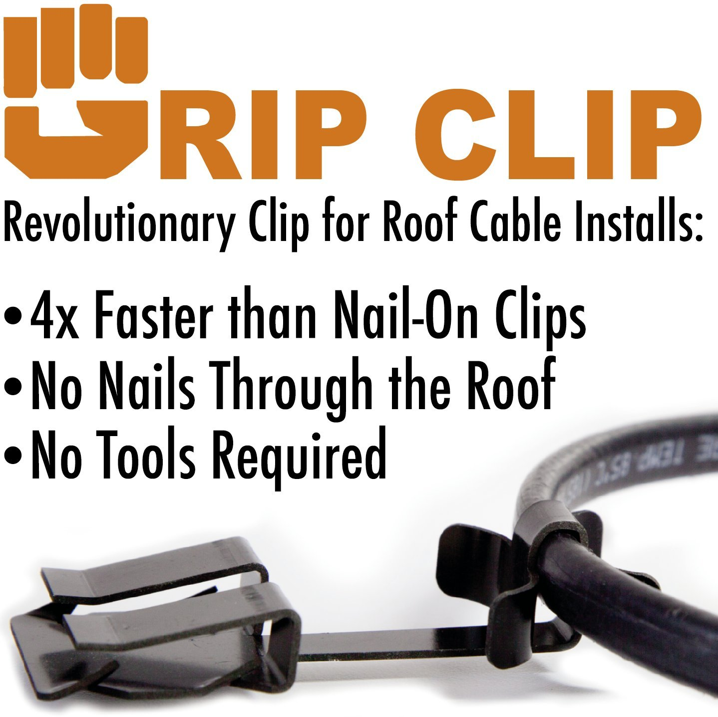 GripClip Roof Cable Clip for Securing Ice Dam Heat Tape, Heat Cable and Holiday Lighting to Roofs (25pack)