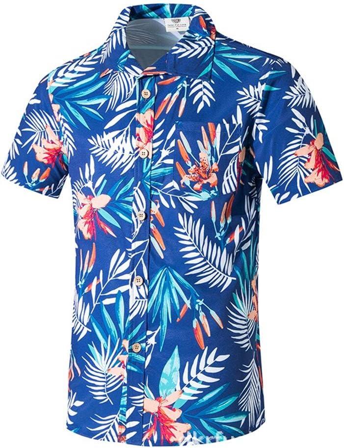 Dfghbn Camisa Hawaiana enrrollada  Hombres  M-5XL  Manga Corta  Bolsillo Delantero  Impresión Hawaiana  Hojas de Flor Camisa Casual con Cuello Abotonado (Color : Azul, tamaño : Metro): Amazon.es: Hogar