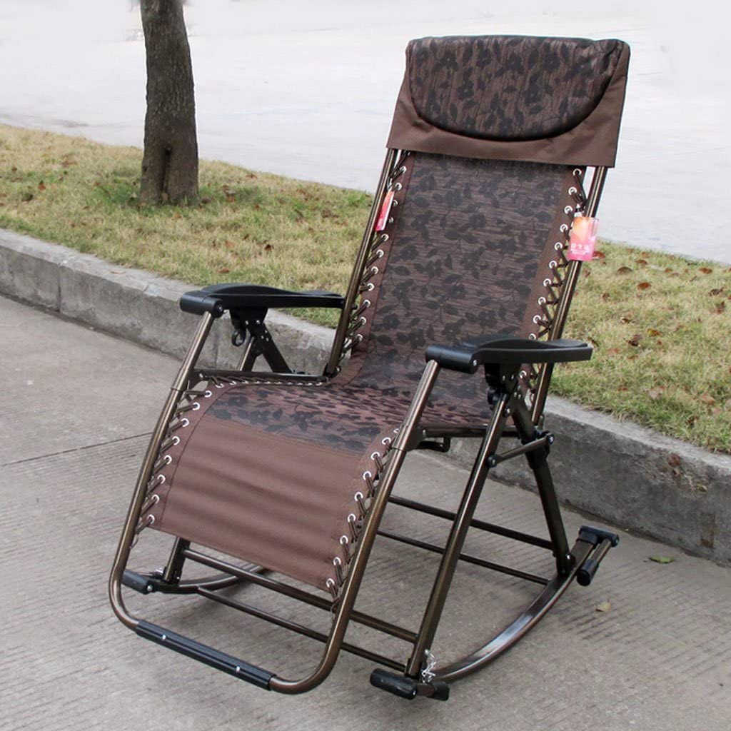 NPZ* Outdoor Fold Recliners Reinforcement Portable Casual Beach Office Lunch Break Siesta Rocking Chair lounge chair (Color : C) A