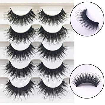 c327c548e30 5 Pairs 3D Thick False Eyelashes Soft Mink Volume Corner Full Strip Lashes  Handmade Eye Makeup