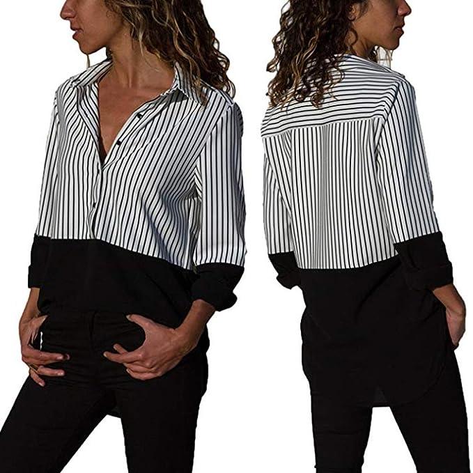keepwin-blusa Nuevo Estilo! Blusas para Mujer Casual Manga Larga Camiseta Elegante Cuello v Rayas Camisa Suelto Bloque De Color T-Shirt Tops: Amazon.es: ...