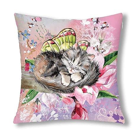 BEDKKJY Gatito Gato Durmiente con decoración de Mariposa ...