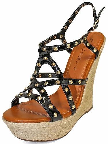 9d60a30e1d38 Luxury Divas Black Gold Studded Strappy Wedge Sandals Size 6.5