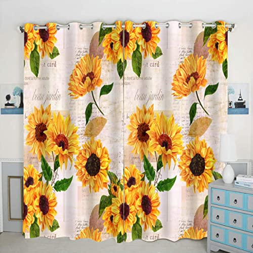 QH Sunflower Window Curtain Panels Blackout Curtain Panels Thermal Insulated Light Blocking 42W x 84L inch Set of 2 Panels - the best window curtain panel for the money