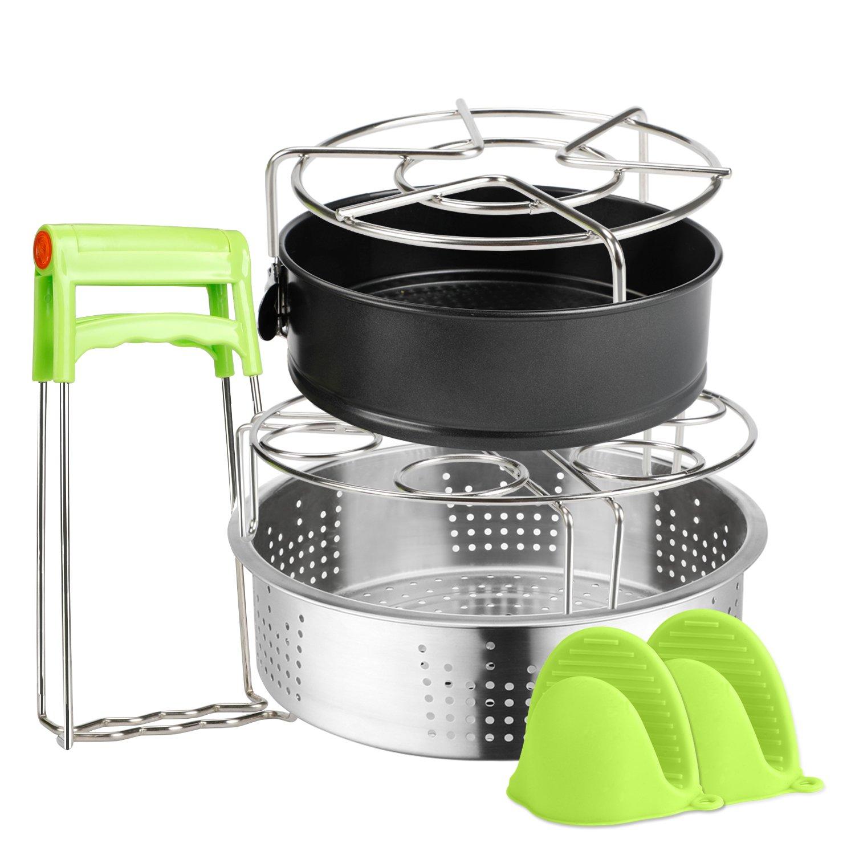 6 PACKS Instant Pot Accessories Steamer Basket Steamer Sets Steamer Base Springform Pan Egg Steamer Rack Silicone Oven Mitts Plate Dish Clip for Pressure Cooker Cooking Pot Steamer Pot Pan 4 5 6 8 qt