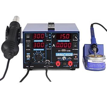 800W YIHUA 3in1 estación de soldadura de aire caliente PSU conjunto estación de la reanudación SMD soldadura,100 ℃ a 480 ℃: Amazon.es: Bricolaje y ...
