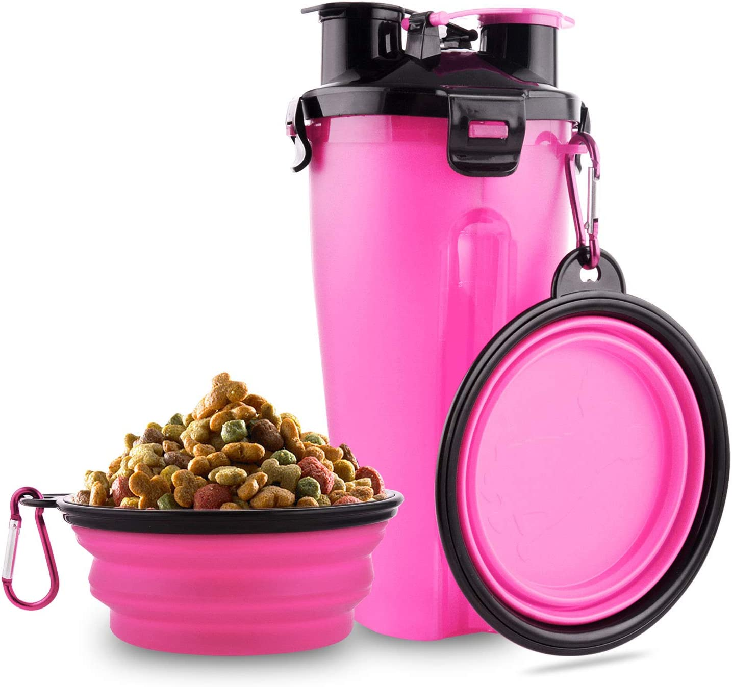 MATT SAGA Botella de Agua para Perros Portatil Envase de Comida para Perros con 2 Plegable Tazones para Perros Gatos Mascotas Adecuado para al Aire Libre Caminar Viajar (Rosa)