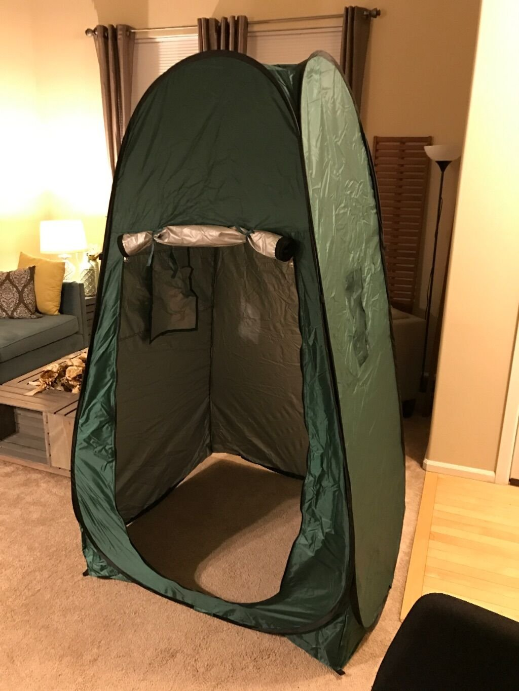 Outdoor Shower Tent, Instant pop-up pod Dressing Tents, Waterproof Portable Camping Toilet Changing Room - with window - Beach Privy Shelters Bathing Fitting Tent, with Carrying Bag (Navy Green)