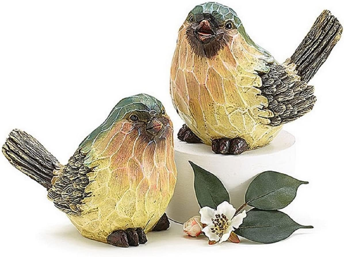 Set of 2 Sculpted Bark-Like Blue Bird Figurines