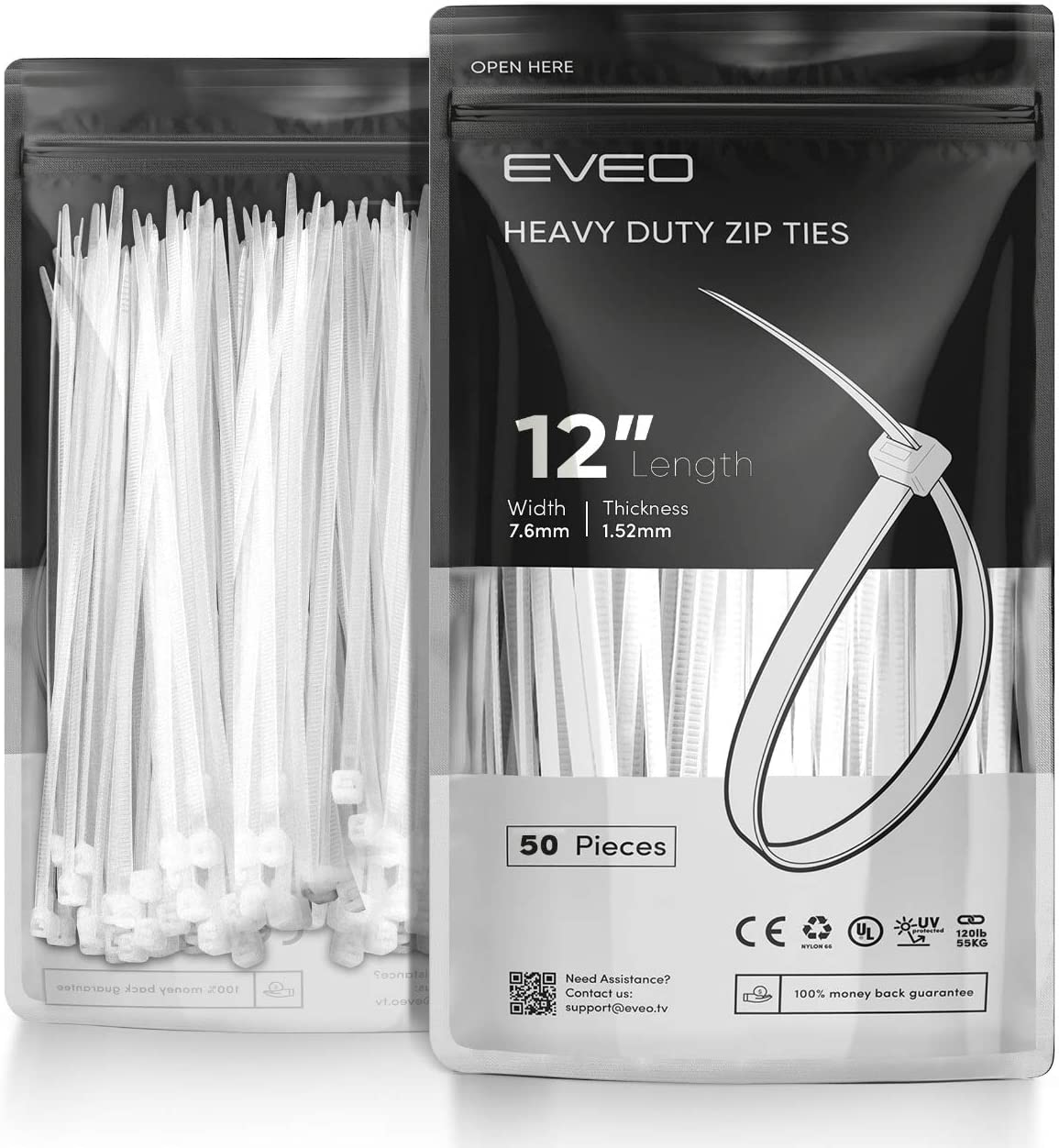 Black Zip Ties Plastic Ties Wire Ties Wraps for Cables Black EVEO 12 inch Zip Ties Heavy Duty Cable Ties Straps /& Zipties