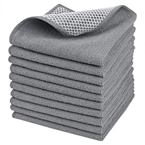 Sinland wholesale Microfiber Dish Cloth Best Kitchen Cloths Cleaning Cloths Poly Scour Side 12Inchx12Inch 10Pack Grey