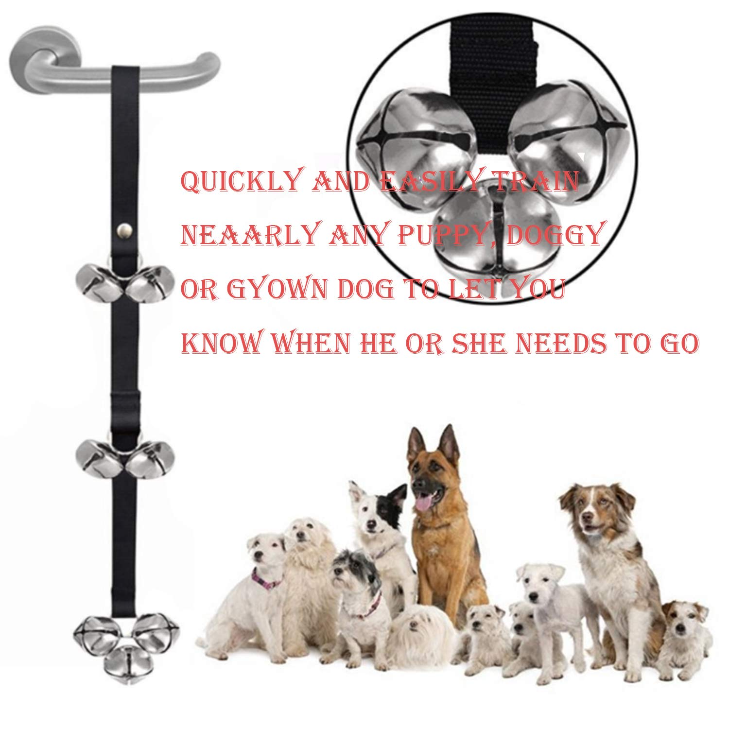 OUOU Adjustable Dog Door Bell for Various Sized Dog Toilet Training Interaction and Housing Training- 2 Pack