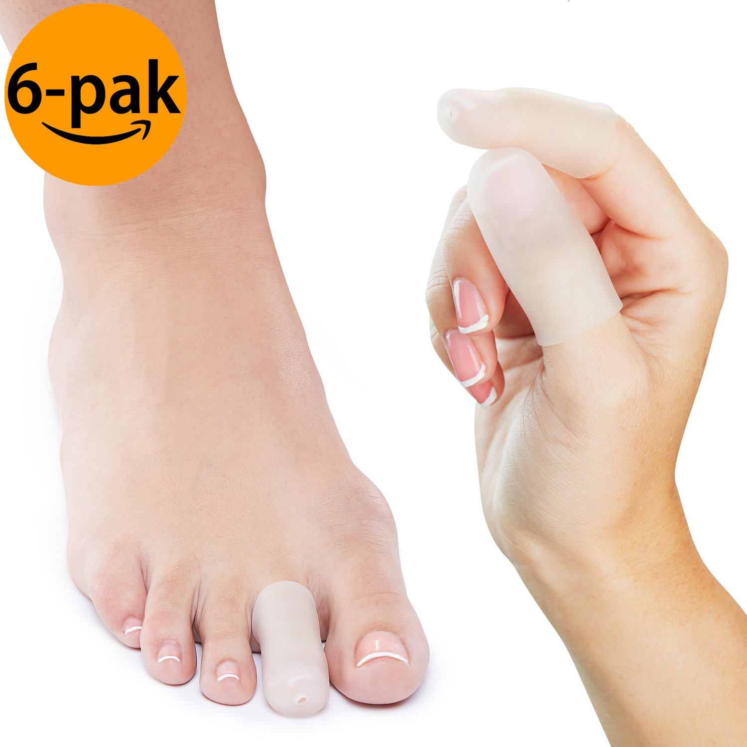NatraCure Gel Toe/Finger Cap and Protector - 6 PACK - (Size: Small/Medium) - Helps Cushion and Reduce Pain from Corns, Blisters, Hammer Toes, and Ingrown Nails