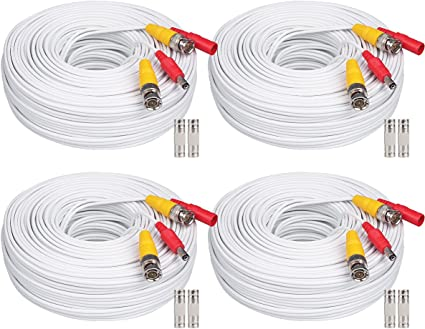 Security Camera Cable Video Surveillance Power Cord CCTV BNC Siamese Wire LOT
