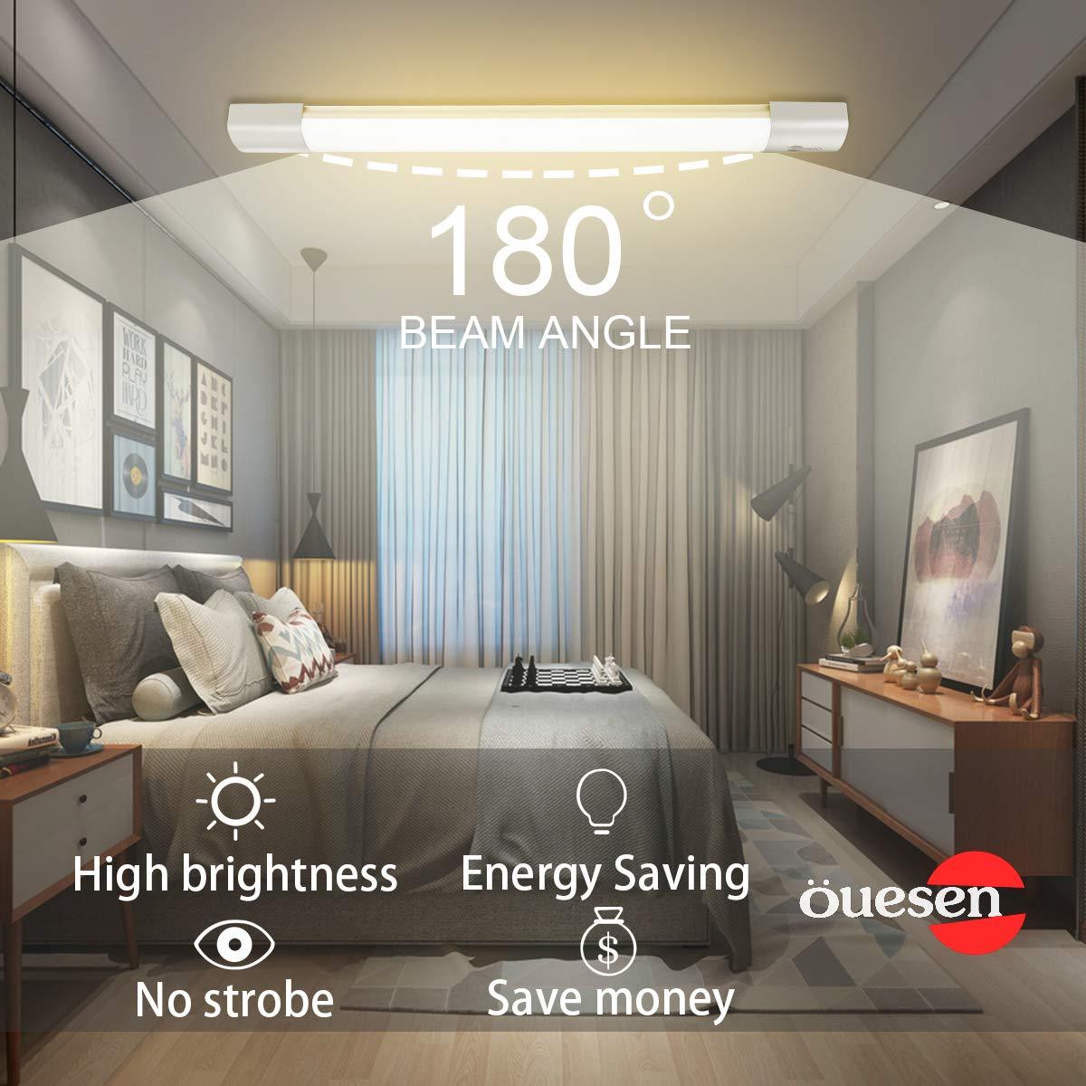 /Öuesen Plafoniere LED 2ft 60CM 180 /° Beam Angle Luci LED impermeabili Raccordo Bianco Naturale 4000K 1800LM Lampada a soffitto per garage Negozio sotterraneo Bagno 18W IP66 LED Tubo Luce