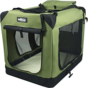 "EliteField 3-Door Folding Soft Dog Crate, Indoor & Outdoor Pet Home, Multiple Sizes and Colors Available (24"" L x 18"" W x 21"" H, Sage Green)"