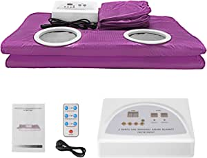 TOPQSC Infrared Sauna Blanket, Professional Digital far Infrared Heating Sauna Blanket (with 2 Sleeves and 50 Plastic Sheets), 2-Zone Controller, Anti-Aging Beauty Device (purple)