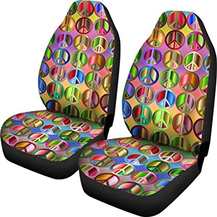 Muggalicious Car Seat Covers With Colorful Hippie Peace Symbols Custom Design