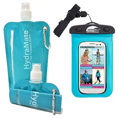 Hydramate pliable Bouteille d'eau. 750ml. doux, pliable sans BPA. Plus Swimcell Coque de téléphone étanche pour natation. Le meilleur Cadeau pour voyage ou Vacances. Save £5avec ce Lot.