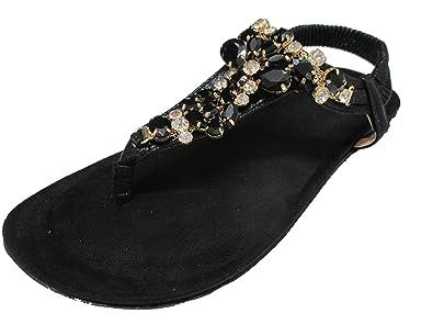 Sandale Damen Zehentrenner Hippie Strass Sommer Oog Glitzer Offener 6vYb7fgy