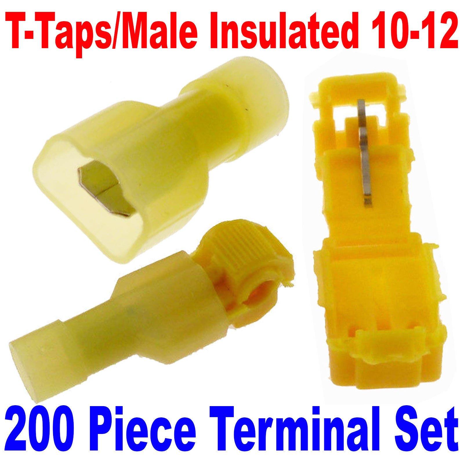 (200) T-Taps/Male Insulated 12-10 Ga Wire Connectors Car Audio Terminals USA