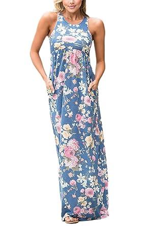 d6e4ef677da94 Mujer Vestidos Largos De Verano Elegantes Casual Flores Estampados Vintage  Vestidos Playa Sin Mangas Cuello Redondo Con Bolsillo Cintura Alta Maxi  Vestido ...