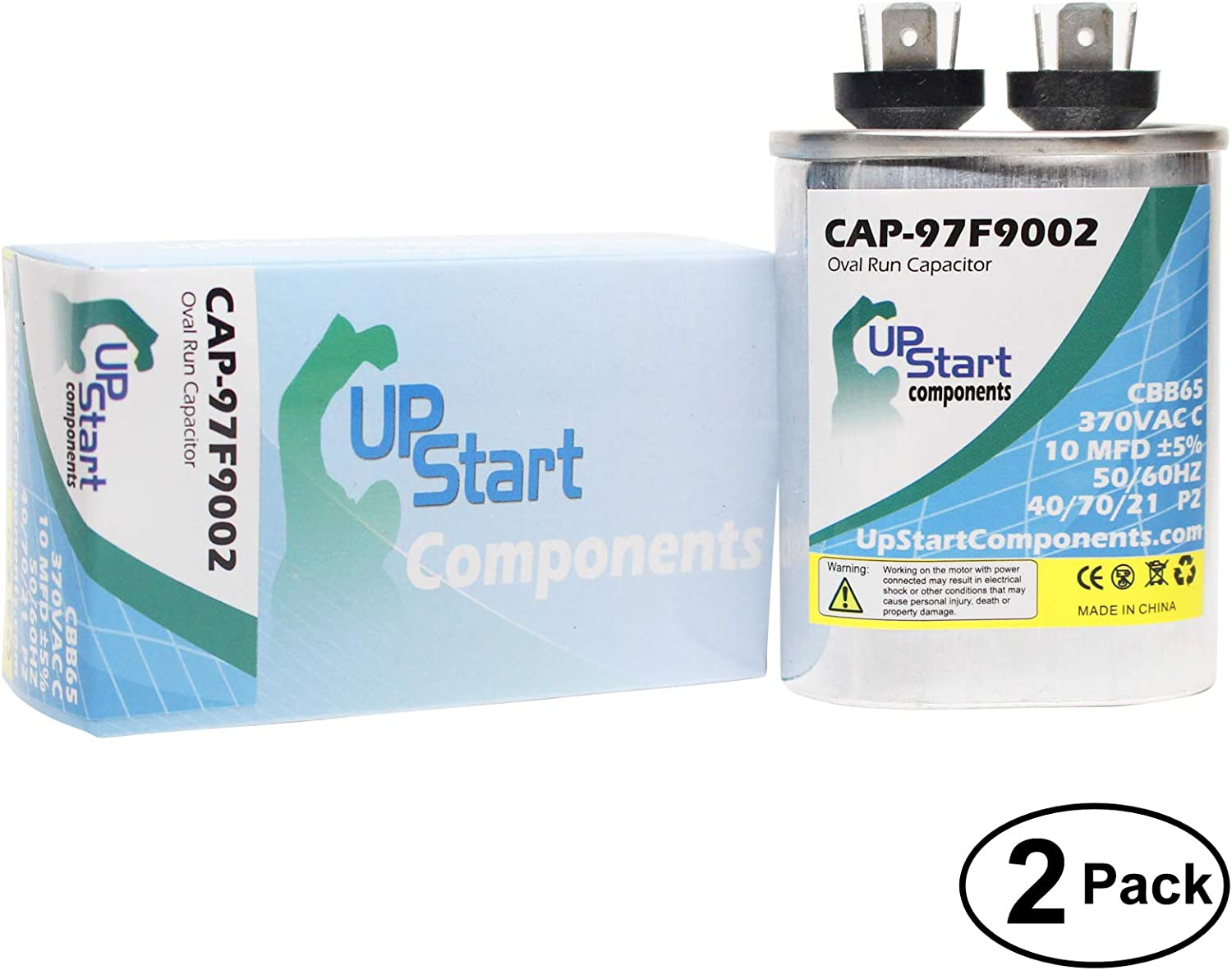2-Pack 10 MFD 370 Volt Oval Run Capacitor Replacement for Carrier/Bryant/Payne 558FTX300000AA - CAP-97F9002, UpStart Components Brand