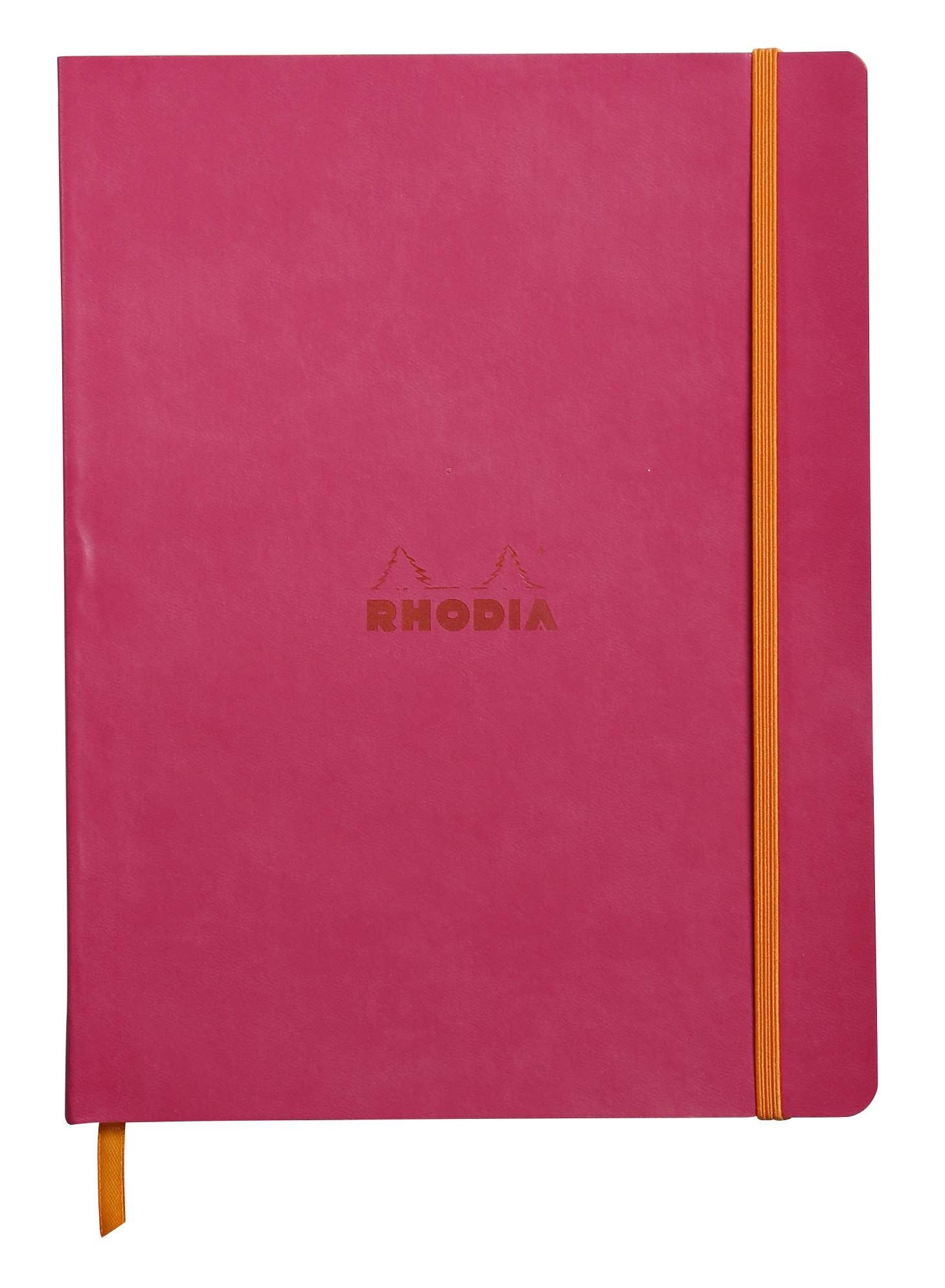 Rhodia Rhodiarama SoftCover Notebook - 80 Lined Sheets - 9 3/4 x 7 1/2 - Raspberry Cover