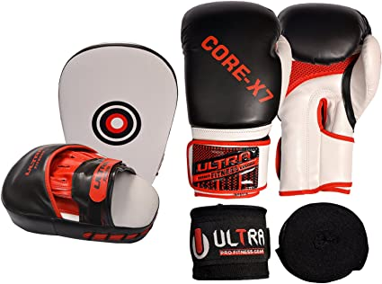 ULTRA FITNESS Boxing curved Hook and Jab Pads with Gloves and Hand Wraps Set boxercise MMA