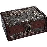 WaaHome bois Boîte de rangement antique Coffre au trésor pour les bijoux, de cadeaux et de décoration