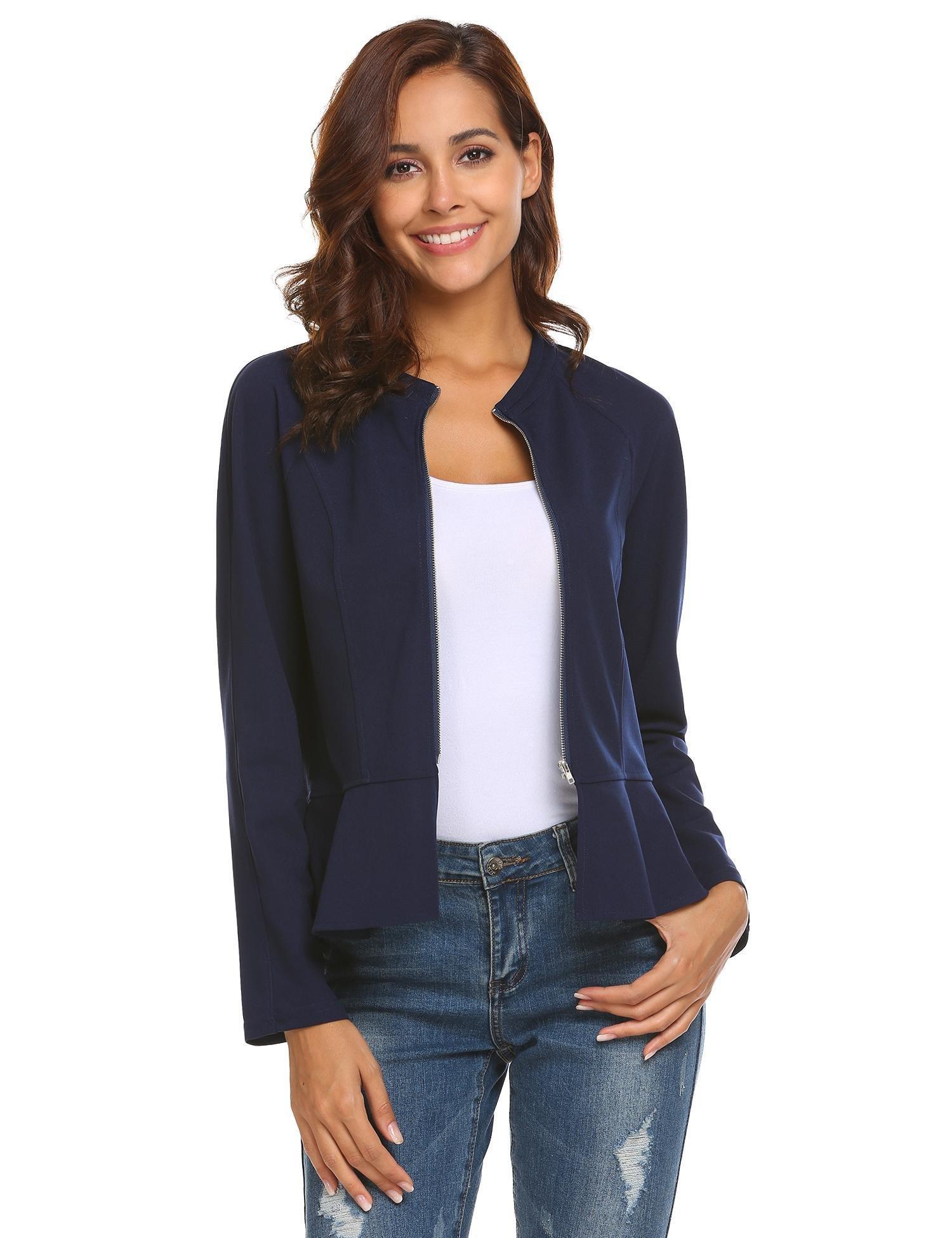 Gfones Women's Casual Collarless Long Sleeve Peplum Office Blazer