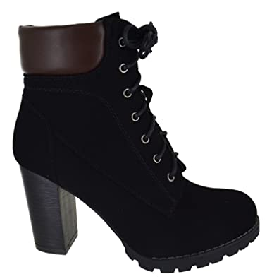 f59b67434c LADIES WOMENS CHUNKY BLOCK HIGH HEEL ANKLE LACE UP COMBAT ARMY BIKER BOOTS  SIZE: Amazon.co.uk: Shoes & Bags