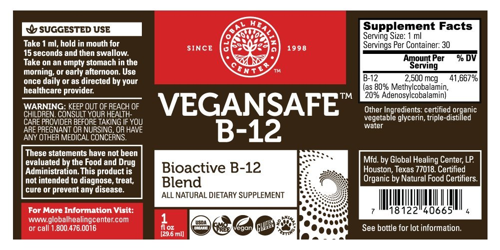 VeganSafe B-12 - Vegan Vitamin B12 by Global Healing by Global Healing: Amazon.es: Salud y cuidado personal