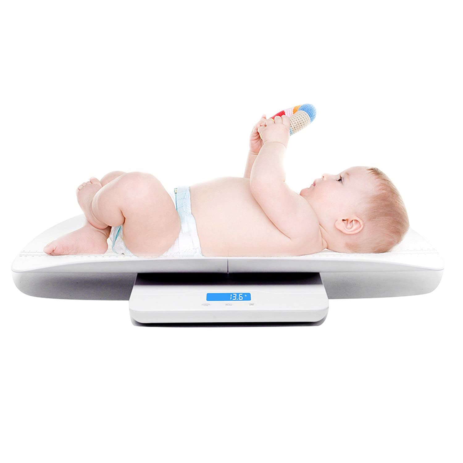 Multi-Function Digital Baby Scale Measure Infant/Baby/Adult Weight Accurately, 220 Pound (lbs) Capacity with Precision 10g, Blue Backlight, Kg/oz/lb, 60cm (White) iSnow-Med