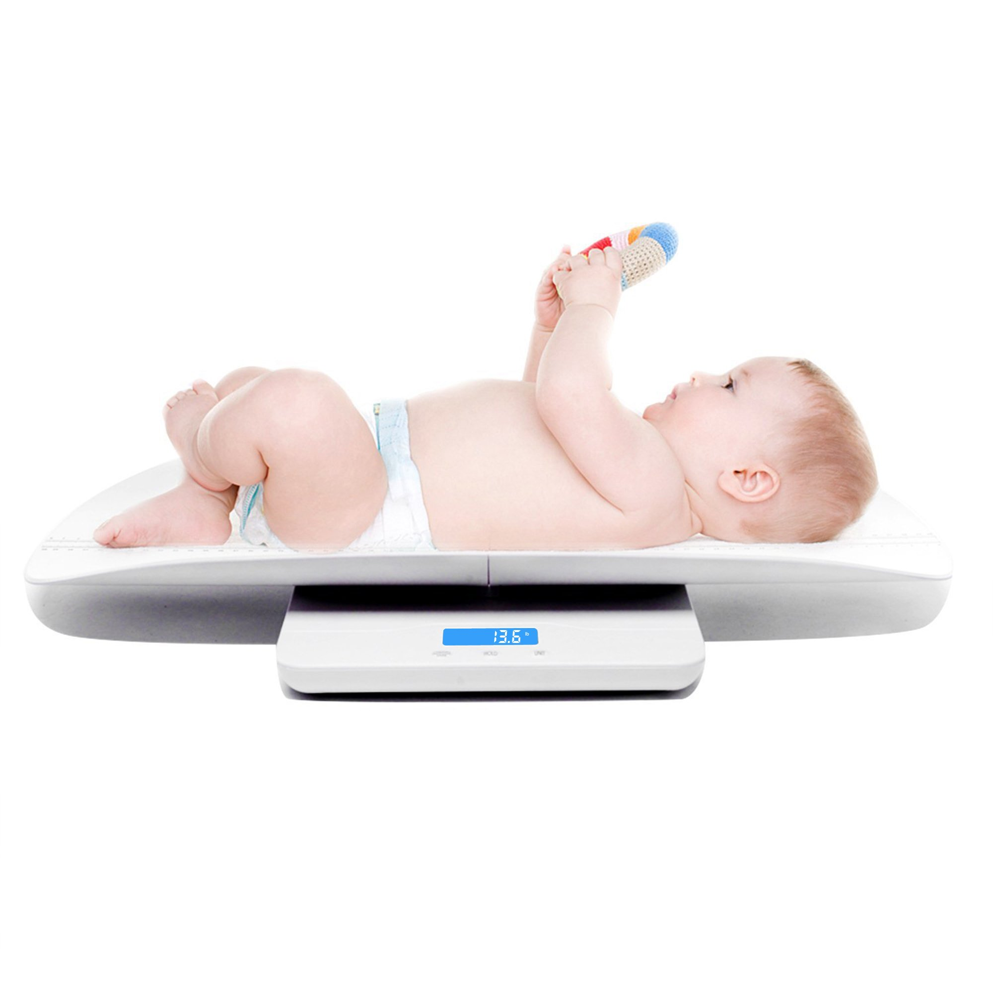 iSnow-Med Multi-Function Digital Baby Scale Measure Infant/Baby/Adult Weight Accurately, 220 Pound (lbs) Capacity with Precision of 10g, Blue Backlight, KG/OZ/LB, Length 60 cm (White)