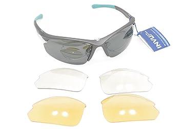 INVU Gafas de Sol polarizadas 2508 A Gris Azul Lentes Intercambiables 100% UV Block Sunglasses