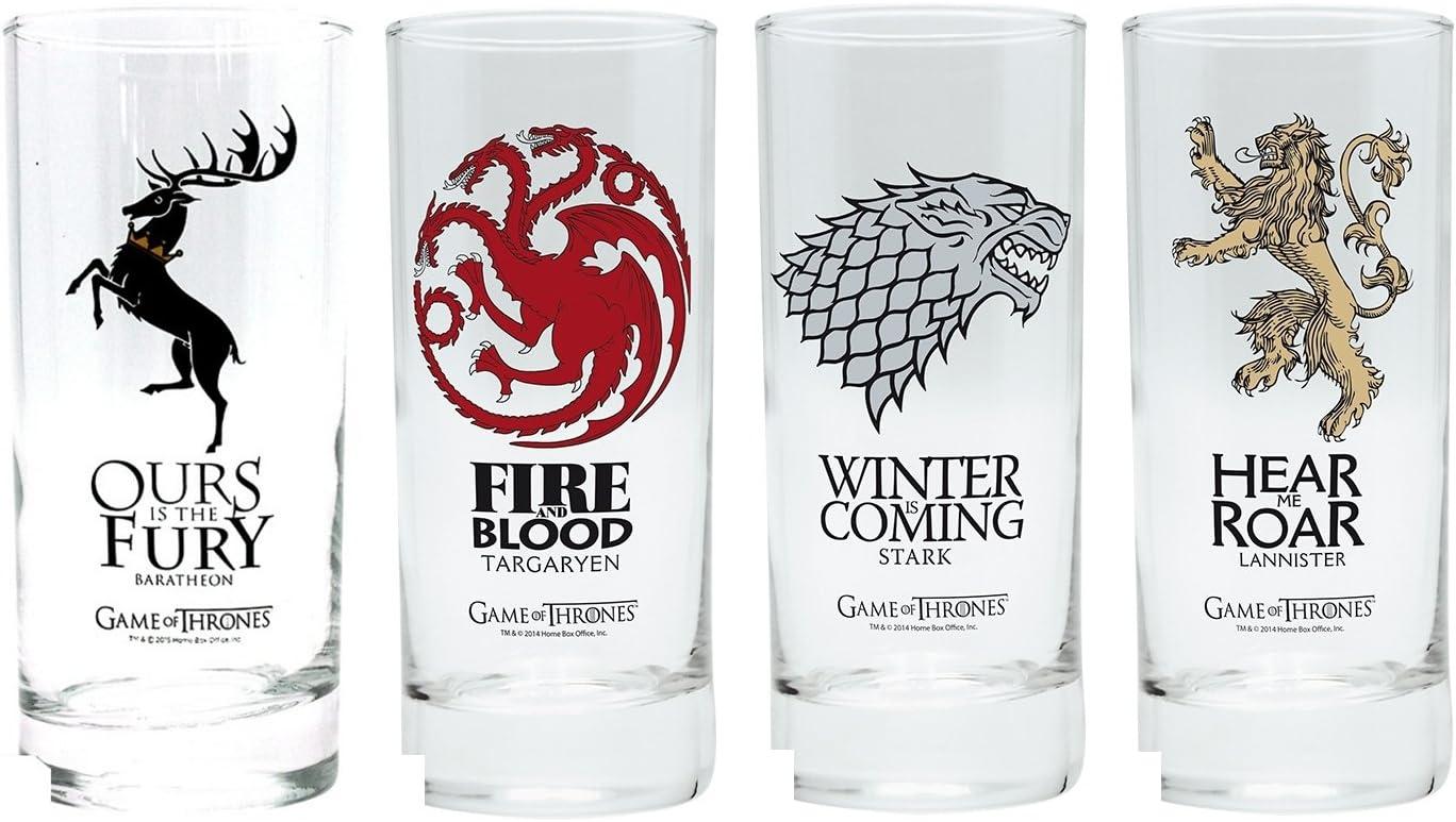 Pack de cuatro vasos de Juego de tronos, Stark, Lannister, Targaryen, Baratheon, escudo: Amazon.es: Hogar