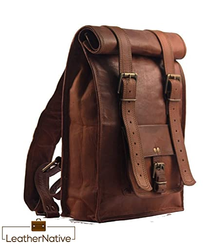 Amazon.com: Leather Native large Roll Top Backpack / Rucksack ...
