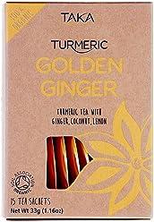 Taka Turmeric Organic Golden Ginger Tea, Pack of 15 Teabags, Pack of 4