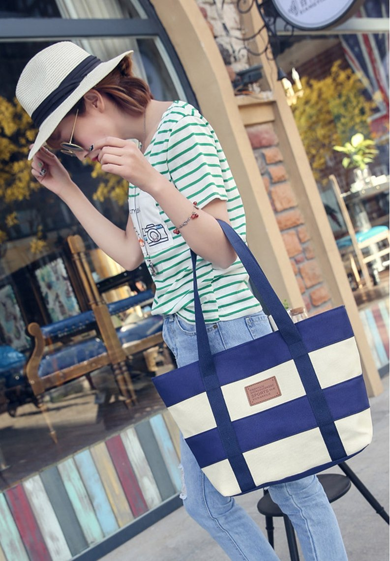 Women's Canvas Cotton Tote Bag Large Capacity Stripe Handbag Casual Shoulder Bag Shopping Bag with Small Purse for School Work Travel (Blue) by Gupiar (Image #4)