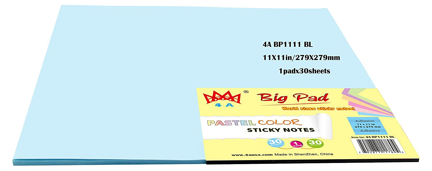 4A Big Pad Paper Sticky Notes 11 x 11 Pastel Blue 30-Sheets/Pad (4A BP1111 BL) 4A(USA)LIMITED