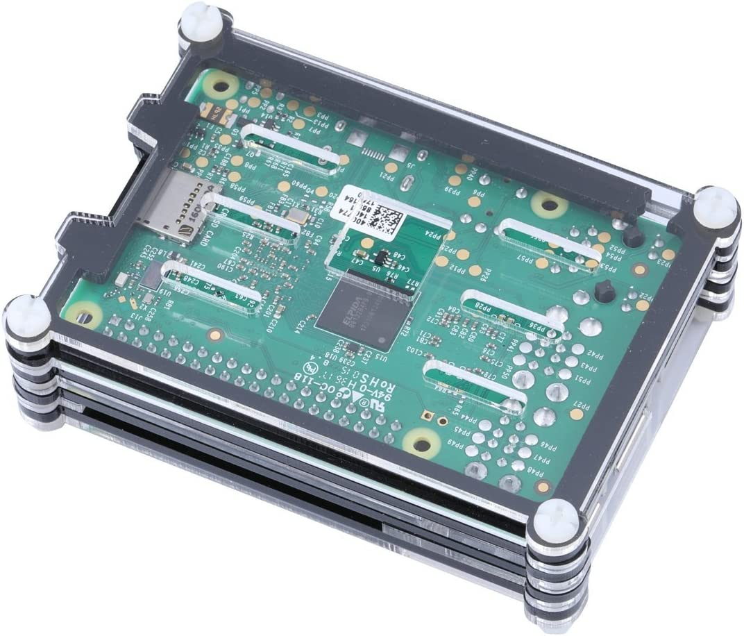 REES52 Raspberry Pi 3 Acrylic Case with Cooling Fan RPI 3 Shell with Mini Fan Support Raspberry Pi 2