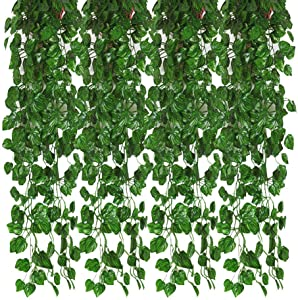 Kalolary 78 Ft 12 Strands Artificial Ivy Garland Leaf Vines Plants Greenery, Hanging Fake Plants, for Wedding Backdrop Arch Wall Jungle Party Table Office Decor (Watermelon Leaf)…