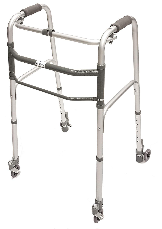 Andador plegable, ajustable de altura con 2 ruedas ...
