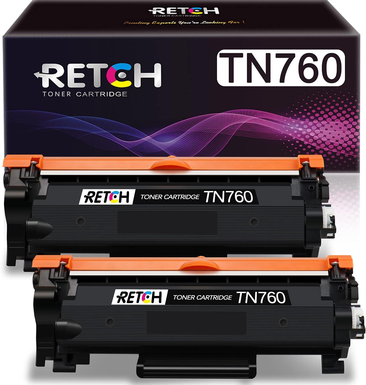 RETCH Compatible Toner Cartridge Replacement for Brother TN760 TN-760 TN730 TN-730, Used with HL-L2350DW HL-L2370DW HL-L2390DW HL-L2395DW MFC-L2710DW (2 Pack)