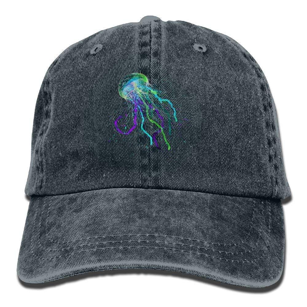 JTRVW Green Purple Graffiti Jellyfish Denim Hat Female Low Baseball Caps