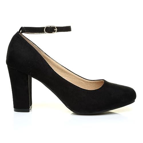 Zara Black Suede Block Heel Ankle Strap Round Toe Court Shoes