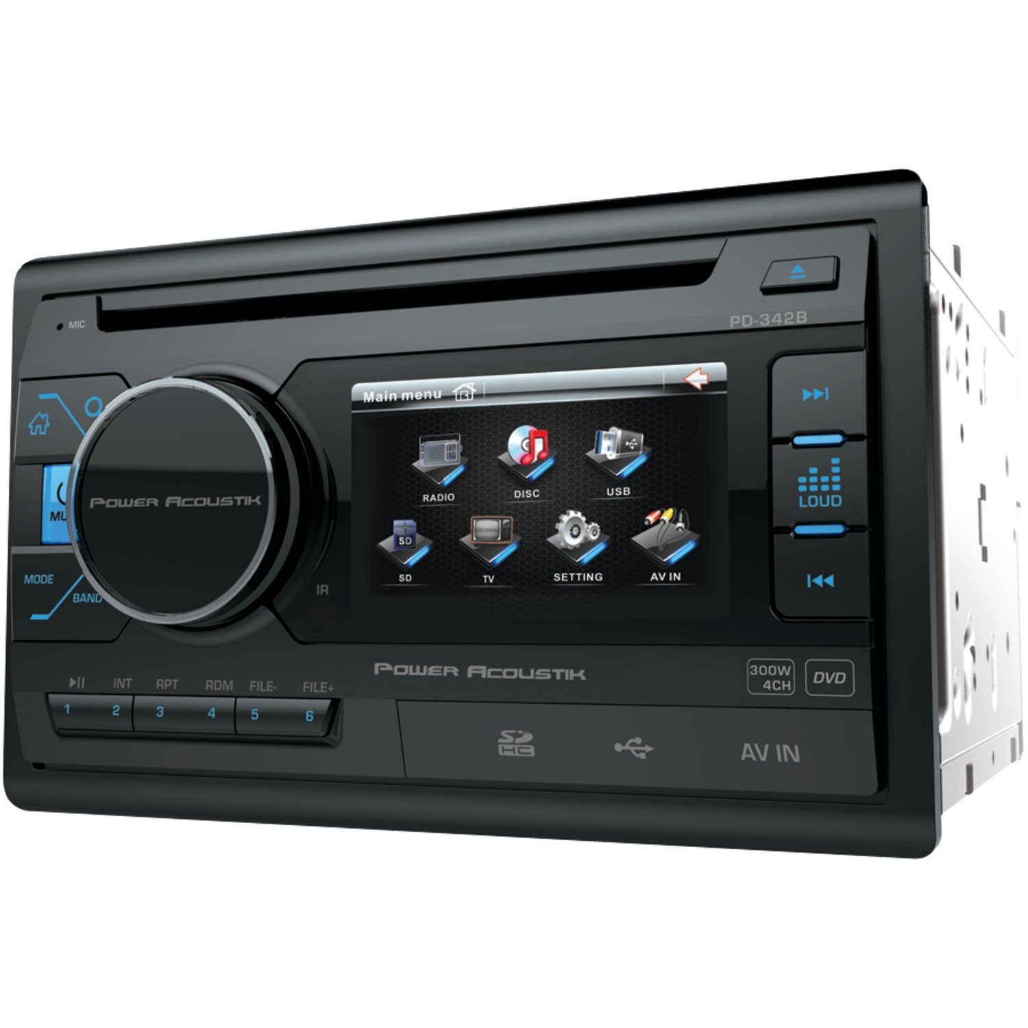 Power Acoustik PD 342 3.4'' Double-DIN In-Dash LCD Touchscreen DVD Receiver without Bluetooth