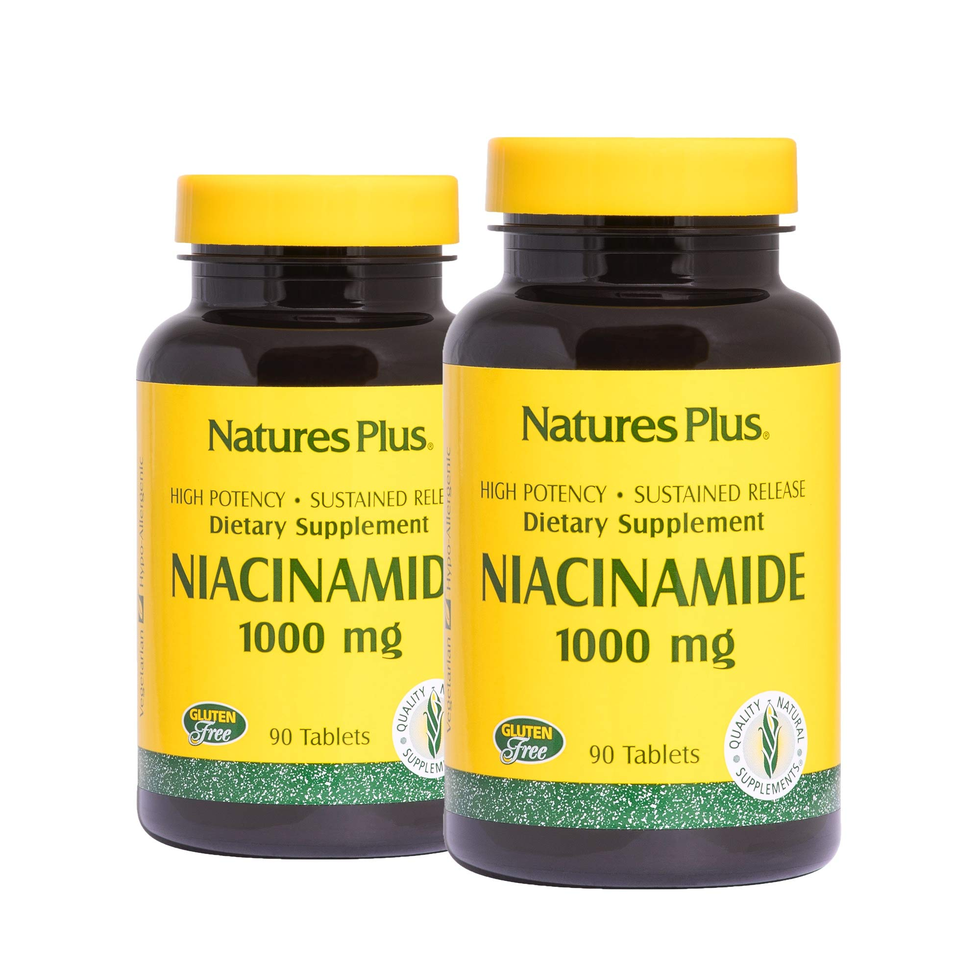 NaturesPlus Niacinamide, Sustained Release (2 Pack) - 1000 mg, 90 Vegetarian Tablets - High Potency Vitamin B3 Supplement, Promotes Lower Blood Pressure - Gluten-Free - 180 Total Servings